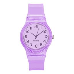 Relojes de moda de plastico damas online-Relojes Mujer Reloj de mujer transparente Moda Señoras Correa plástica Relojes Vestido de cuarzo Relojes de pulsera de lujo Reloj Mujer Regalos Horas