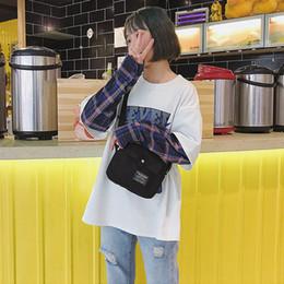 botones de estilo japonés Rebajas 2019 Mujer Elegante Nuevo estilo Diseño de moda Bolso pequeño japonés Clásico Color salvaje Carta Lienzo Botón a presión Bolso de hombro Mujer
