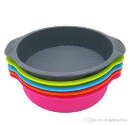 moldes para pasteles formas Rebajas Ronda de silicona torta de la forma del molde circular multicolor herramienta para hornear hornear Para pasteles Mousse Pan accesorios de decoración