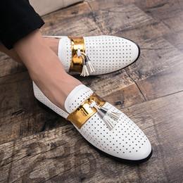 Verkauf formale schuhe männer online-Hot Sale-Sommer-Mann-formale Schuhe Qualitäts-Breathrindsleder Personality Männer Geschäfts-Kleid Loafers Oxford Hochzeit Schuh Weiß