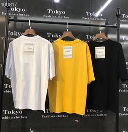 2019 tee-shirt jaune à manches longues 19FW Dernier patch été Summer Back VETEMENTS Oversize hommes femme t-shirt manches courtes kanye west tee Noir Blanc Jaune Coton promotion tee-shirt jaune à manches longues