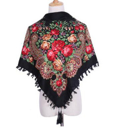 Canada Nouvelle Marque De Mode Designer Carré Hiver Wrap Écharpe Femmes Gland Châles De Luxe Floral Imprimer Vente Chaude Bandeau 90 * 90 cm cheap winter scarf sale for women Offre