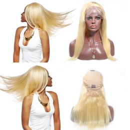human hair brazilian wig blonde Promo Codes - Lace Front Human Hair Wigs #613 150% Density Front lace wigs with hairline Natural Wave Brazilian Remy Hair Wigs With Baby Hair