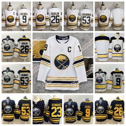 9 Jack Eichel Buffalo Sabres Golden 50th Season Third Jersey 53 Jeff Skinner 26 Rasmus Dahlin 23 Sam Reinhart Maglia da hockey DISPONIBILE da camma gialla fornitori