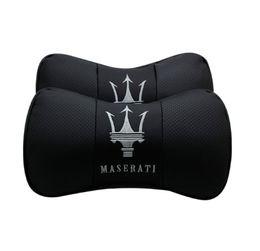2 Stücke Echt Leder Autositz Nackenkissen Kissen Auto Kopfstütze Fit Für Maserati von Fabrikanten