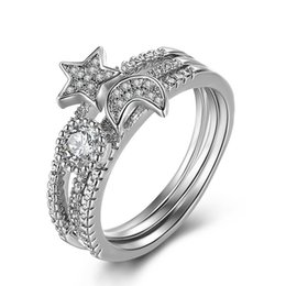 china star rings Promo Codes - Crystal Moon Silver Ring Diamond Moon Star Rings Open Adjustable Rgins Designer Rings Jewelry for Women Will and Sandy Dropship