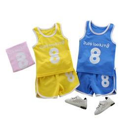 baby boy tracksuits Sconti Bambini Ragazzi Outfit Summer Tuta Tank shorts Set Numero 8 Stampa Prezzo a buon mercato all'ingrosso Baby boy vestiti 2T 3T 4T 5T 6T