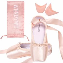 Ballerines roses en Ligne-Taille 28-43 fille et femmes ballet pointe chaussures de danse chaussures de ballet professionnel avec rubans orteil et sac noir rouge rose