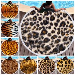 2019 manteles de picnic Toalla de playa redonda Leopardo Mantas de playa Microfibra Toalla de natación Borla Paño de tabla Estera de yoga Alfombras de picnic Servilleta de Plage YW3659 manteles de picnic baratos