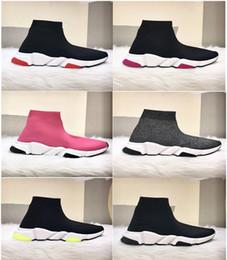 Sapatos de malha originais on-line-Nova Paris Formadores de Velocidade Malha Meia Sapato Original de Luxo Designer de Mens Das Mulheres Tênis Baratos Alta Qualidade Superior Sapatos Casuais Com Caixa