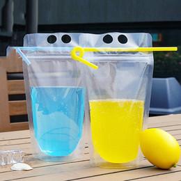 roter nachtstand Rabatt 100pcs Clear Drink Pouches Taschen haben Stroh matt Reißverschluss Stand-Up Kunststoff Trinkbeutel mit Strohhalm mit Halter Wiederverschließbare Hitzebeständige 500ml