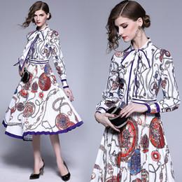 Vestido de fiesta de moda collar de la impresión del arco de manga larga túnica de oscilación grande plisado Midi Fiesta de la vendimia elegante señora de las mujeres Vestidos 6149 desde fabricantes