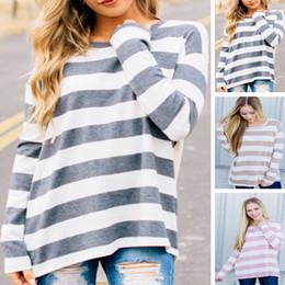 camicie della camicia delle signore Sconti Camicia donna casual a maniche lunghe T-shirt girocollo a maniche lunghe con motivo a righe a maniche lunghe T-shirt S-2XL