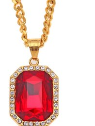 22k chapado en oro online-Nueva moda europea y americana atractiva de hip-hop con incrustaciones de diamante de acero inoxidable Ruby Colgante Color de conservación 22K bañado en oro boutique