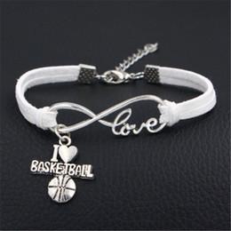2019 braccialetto di pallacanestro di cuoio Il nuovo disegno del metallo dell'annata Infinito Amore I Heart Bracelet Basketball fai da te per le donne gli uomini di colore White Suede gioielli in pelle Velvet Rope Statement sconti braccialetto di pallacanestro di cuoio