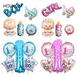 2019 decorazioni di battesimo della bambina Baby Shower Balloon Boy Girl Battesimo Palloncino Unicorn Party Braccialetto in gomma Decorazioni per feste di compleanno Forniture per eventi per bambini sconti decorazioni di battesimo della bambina