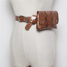 дамская сумочка длинный ремень Скидка Women Leather Waist Pouch New Snakeskin Fanny Pack Fashion Belt Bags Travel Waist Bag Vintage Lady Long Wallet 4 Colors