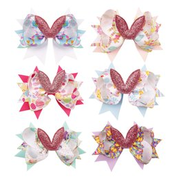 multi layer ribbon hair bows Coupons - 3'' Easter Day Rabbits Hair Bows for Girls Glitter Bowknot Multi Layers Ribbon Hairbow Kids Hairgrips Hair Accessories