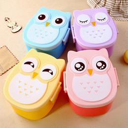 Contenitore per i bambini online-Cartoon Owl Lunch Box Bento Boxes Contenitore per alimenti Food Storage Box Organizzazione per bambini Studente adulto HH9-2082