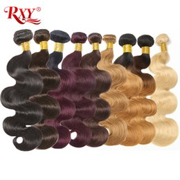 indian hair 27 613 Promo Codes - Body Wave Bundles Hair Weft Brazilian Hair Weave Bundles Colorful #2 #4 #27 #99J #613 Blonde Body Wave Human Hair Bundles