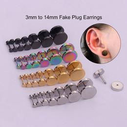 2019 bretelles noires Sellsets 2pcs 6/8/10 / 12mm titane en acier inoxydable oreille piercing faux oreille bouchons tunnels boucles d'oreilles pour les femmes et les hommes