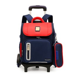Rodas de sacos escolares on-line-Versão de atualização crianças mochila mochilas escolares 2/6 rodas Trole destacável mochilas escolares para meninas meninos à prova d 'água crianças saco de livro