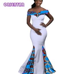2019 sexy wax 2018 Robes Africaines pour Femmes Dashiki Batik Cire  Impression Sexy Slash Neck Robe