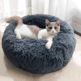 Pet Paspaslar Köpek Yuvarlak Kedi Kış Sıcak Uyku Tulumu Uzun Peluş Yumuşak Pet Yatak Sakinleştirici Yatak Kapalı Yuvarlak Yastık Uyku Perro cheap round beds nereden yuvarlak yatak tedarikçiler