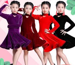 2019 samba röcke 2019 Mädchen Latein Kleider für Tanz Ballroom Dance Kleid Rumba Samba Samt Kinder Samba Cha Cha Tango Rock Standard Salsa günstig samba röcke