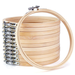 großhandel stickerei reifen Rabatt ABKM Hot 12 Stücke 6 Zoll Holz Stickrahmen Groß Großhandel Bambus Kreis Kreuzstich Hoop Runde Ring für Kunsthandwerk Hand