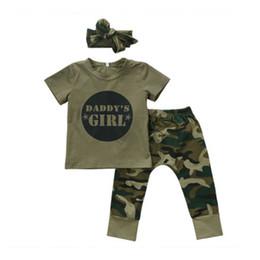 Ensembles de bébé Mignon Nouveau-né Bébé Garçon Fille Infant T-shirts Tops + Pantalons Bandeau Vêtements Armée Tenues Vertes Ensemble ? partir de fabricateur
