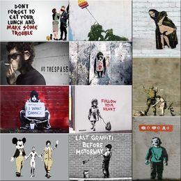 Peintures banky en Ligne-Banksy Graffiti Art sur Toile peintures murales affiche affiche Pop décoration photos murales décoratif encadré freeship