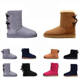 Высокие меховые сапоги онлайн-Роскошная Женщины Snow Boots Classic Tall Честнат Bailey Bowknot Кожа Мех зимы Snowboots лодыжки женщин Половина колена Австралийские сапоги
