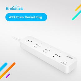 Control remoto wifi de enlace amplio online-Broadlink Mp1 Wifi Power Strip 4 toma de enchufe de extensión Con Eu / us / uk / au Adaptador de la aplicación de control remoto para Smart Home J190517