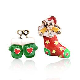 mini figures china Coupons - Mini bright Christmas socks green gloves cute teddy bear brooch pin clothing