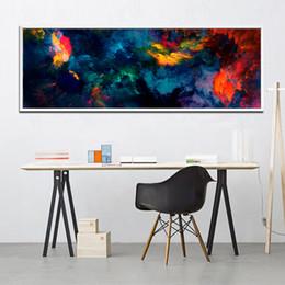 2019 diy red girasoles Grand Mur de toile Art Print Résumé Couleur Storm Art Peinture Longue bannière Affiche de mur de toile pour la maison Salon décoration murale