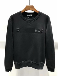 Nuevo diseño de los hombres de algodón cálido sudadera D2 hombres / mujeres ocasionales iocn a rayas patrón bordado suéter de manga larga chaqueta desde fabricantes