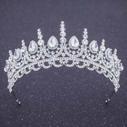 2019 diadema de circonia Coronas barroca de cristal de novia Vintage circón cúbico de plata del boda de las tiaras de la princesa de novia tiaras venda cristalina diadema de circonia baratos