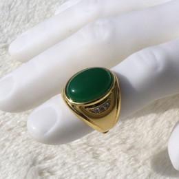 2019 кольцо из желтого золота 14к Большой мужская Винтаж 14 к твердые желтое золото GF большой зеленый агат камень кольцо стороне круглой огранки Аранк автомат никелированная латунь