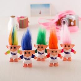 длинные волосы куклы Скидка Красочные 10см волос Troll куклы длинные волосы Двойной Бинго Ткань Фигурки куклы Супер мило длинные волосы Лаки тролли игрушки Подарки для детей