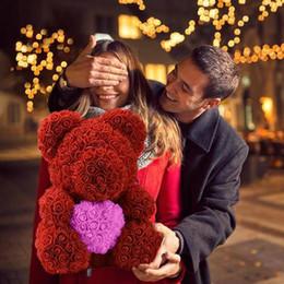 Vente chaude 40 cm ours de roses fleurs artificielles accueil festival de mariage bricolage décoration de mariage pas cher avec coeur ours artisanat valentines cadeau ? partir de fabricateur