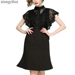 Oficina de trabajo Vestido de fiesta negro Cintura alta Encaje Costura Vestido de sirena Vestidos Midi Hasta la rodilla Elegante Vestidos de moda XXL desde fabricantes