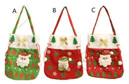 Pomme de nouvel an en Ligne-Père Noël Sac d'Apple Candy Bag Nouvel An 2020 Ornements pour le sac d'arbre de Noël d'hiver de Noël bonhomme de neige Décoration