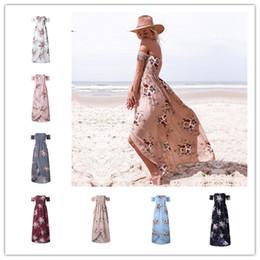 2019 ropa bohemia fuera del hombro Verano más el tamaño de las mujeres imprimir vestidos sin tirantes pecho envolver fuera del hombro vestido largo bohemio vestidos de playa mar vacaciones ropa 5XL C42207 ropa bohemia fuera del hombro baratos