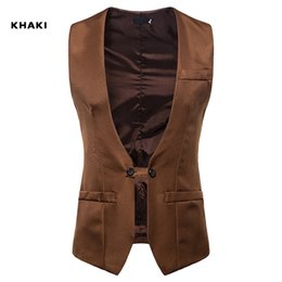 new european dress designs Promo Codes - Customized Men Wedding Dress Vest Autumn And Winter New V-collar Design Men Armor Men Self-cultivation Double-row Button Suit And Jacket