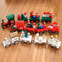 Natal Brinquedos do trem pintado Madeira Decoração para casa com a Santa / suportar Xmas Kid Brinquedos Ornamento do presente de Ano Novo favor LJJA3395-1 de