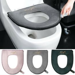 Capas de assento quente on-line-2019 banheiro Toilet Seat Closestool lavável macio Warmer Mat capa de almofada almofada de veludo 3 Color Velvet Impresso Toilet Seat