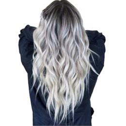 mischen graue haarfarbe Rabatt Sexy Perücke Farbverlauf Grau Party Perücke Langes lockiges Haar Cosplay Haar Mischfarbe Synthetische Perücke für Frauen und Mädchen