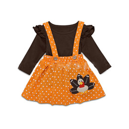fille de tenue de thanksgiving bébé Promotion Thanksgiving enfants vêtements vêtements filles tenues enfants hauts + Turquie Dot sangle jupes 2pcs / set 2019 Printemps Automne bébé Vêtements Set C1280