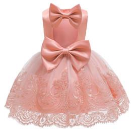 23b89b3e7 verano vestidos de bautismo para las niñas Rebajas Sin respaldo de verano  Big Bow Infant Baby